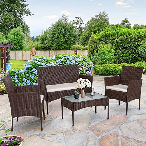 SUNLEI 4-Piece Rattan Patio Furniture Set, Garden Lawn Pool Backyard Outdoor Sofa Wicker Conversation Set with Glass Coffee Table, Loveseat 2 Cushioned Chairs Brown