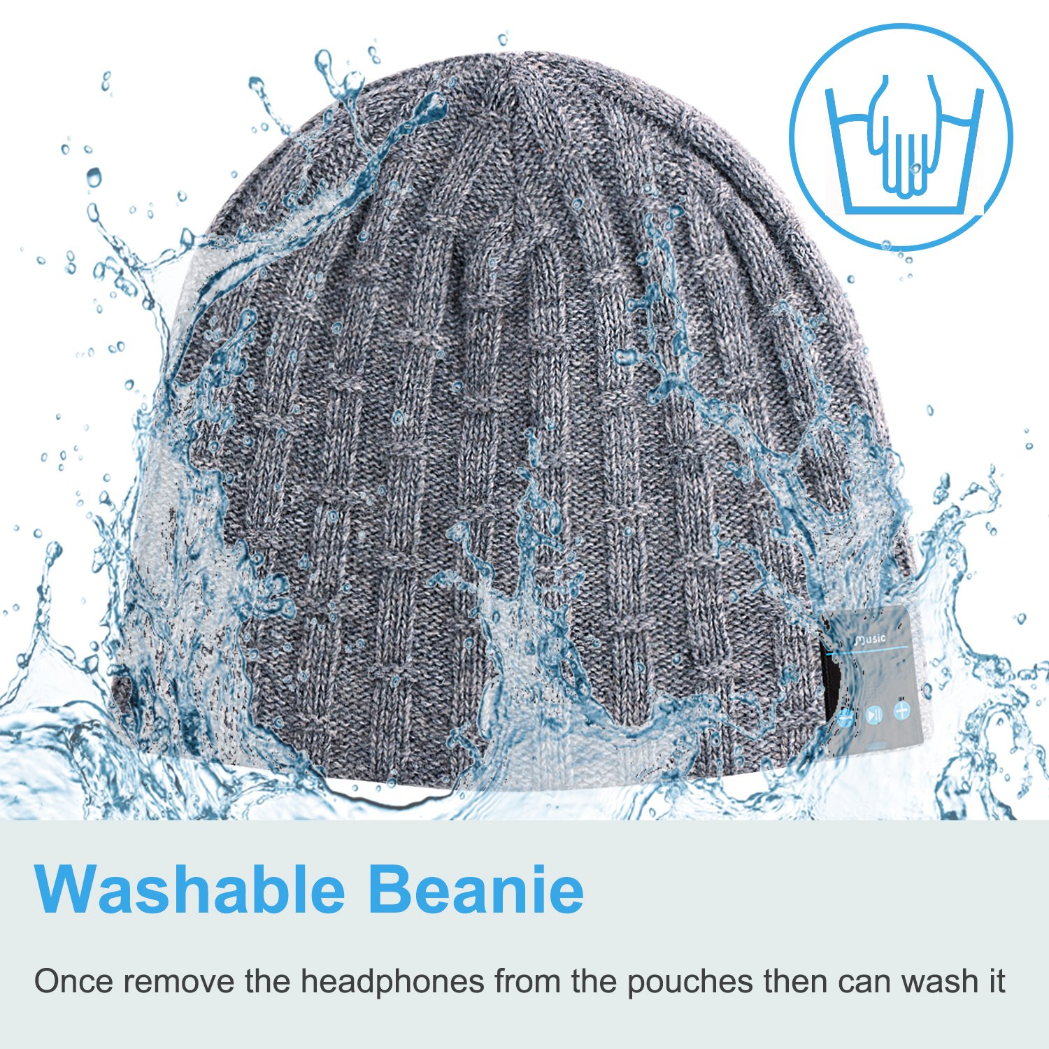 b104e97d25e Rotibox Washable Bluetooth Beanie Warm Soft Winter  Amazon.co.uk   Electronics