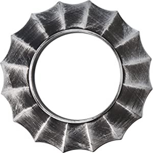 Kole Imports OS267 Distressed Silver Circle Wall Mirror