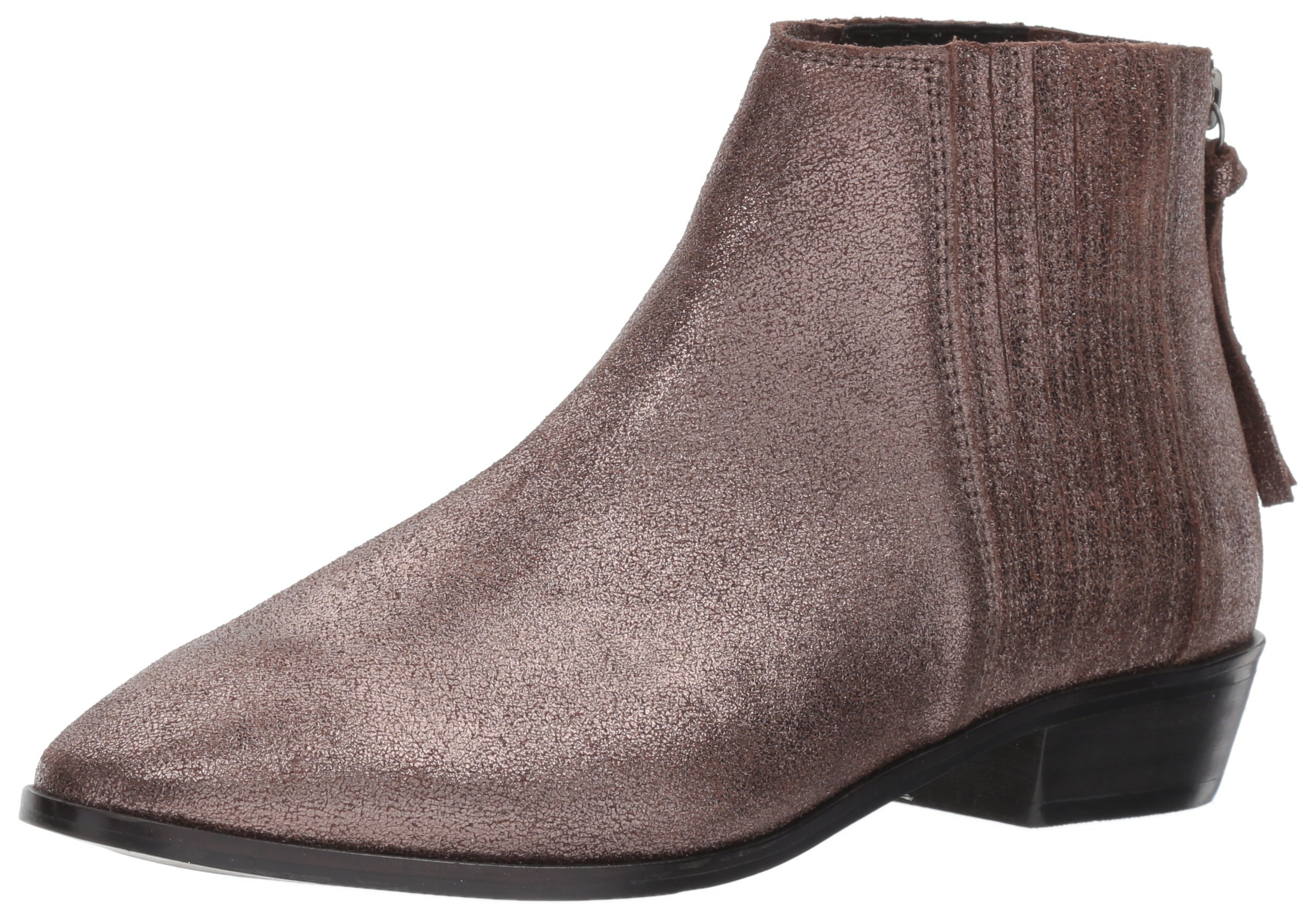 Kenneth Cole REACTION Women's Loop-y Flat Finger Gusset Leather Ankle Bootie, Hematite, 5 M US