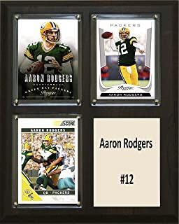 """product image for C&I Collectables NFL Green Bay Packers Aaron Rodgers Two Card Plaque, 8"""" x 10"""", Brown"""