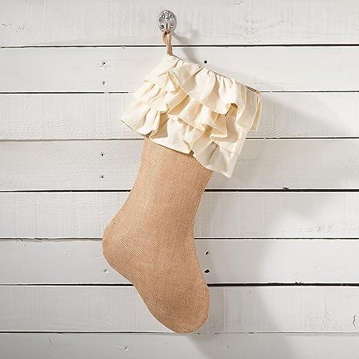 Fennco Styles Capucine Ruffled Holiday Design Burlap Table Runner 13x19 stocking, Natural Ruffle Stocking