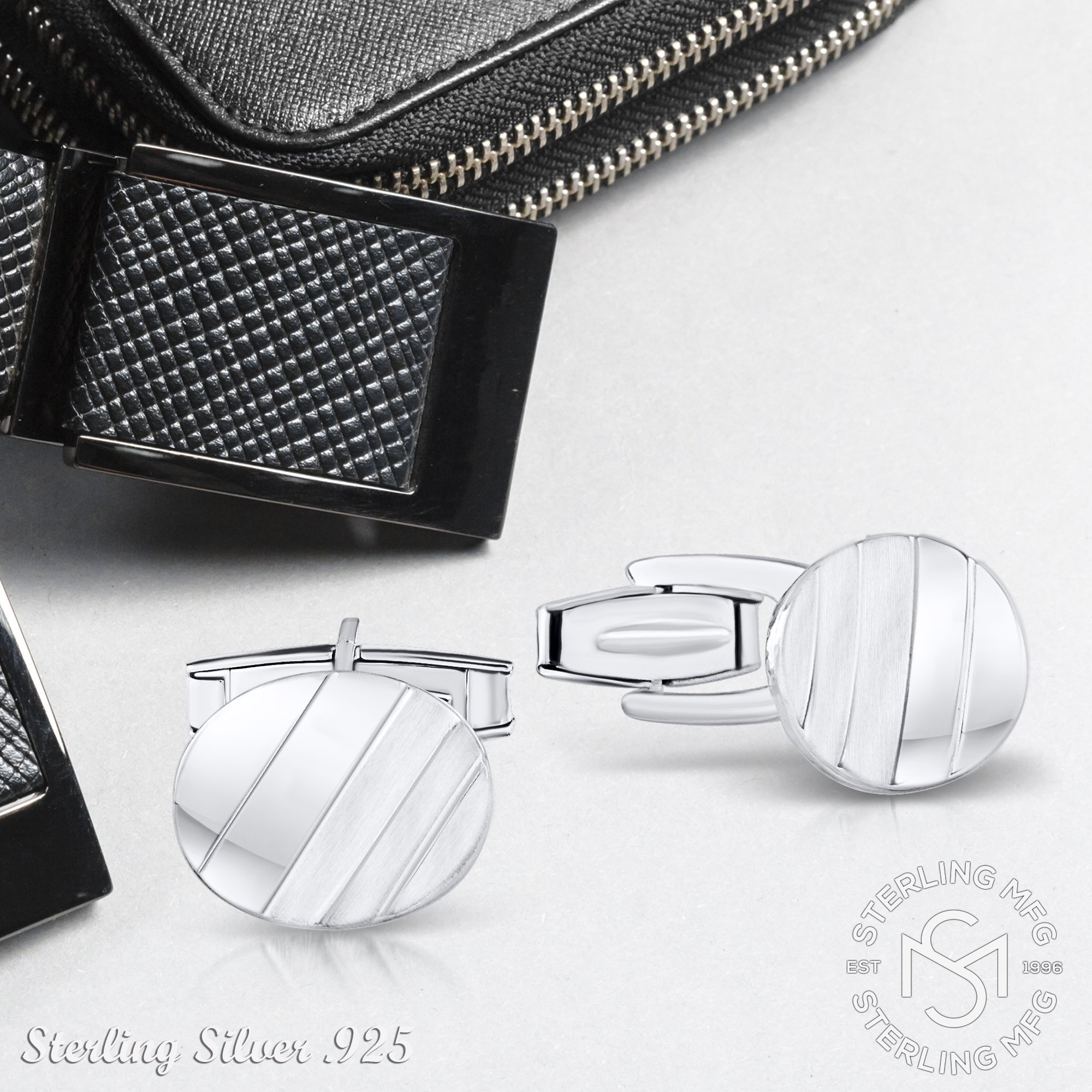 Men's Sterling Silver .925 Oval Striped Design Cufflinks with Satin Finish. Made In Italy. By Sterling Manufacturers by Sterling Manufacturers (Image #6)