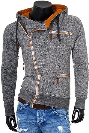 Rerock Herren Sweatjacke Pullover mit versetztem schräg verlaufenden  Reißverschluss Kapuzen Hoodie Slimfit 22233, Grösse  b34562c6d1