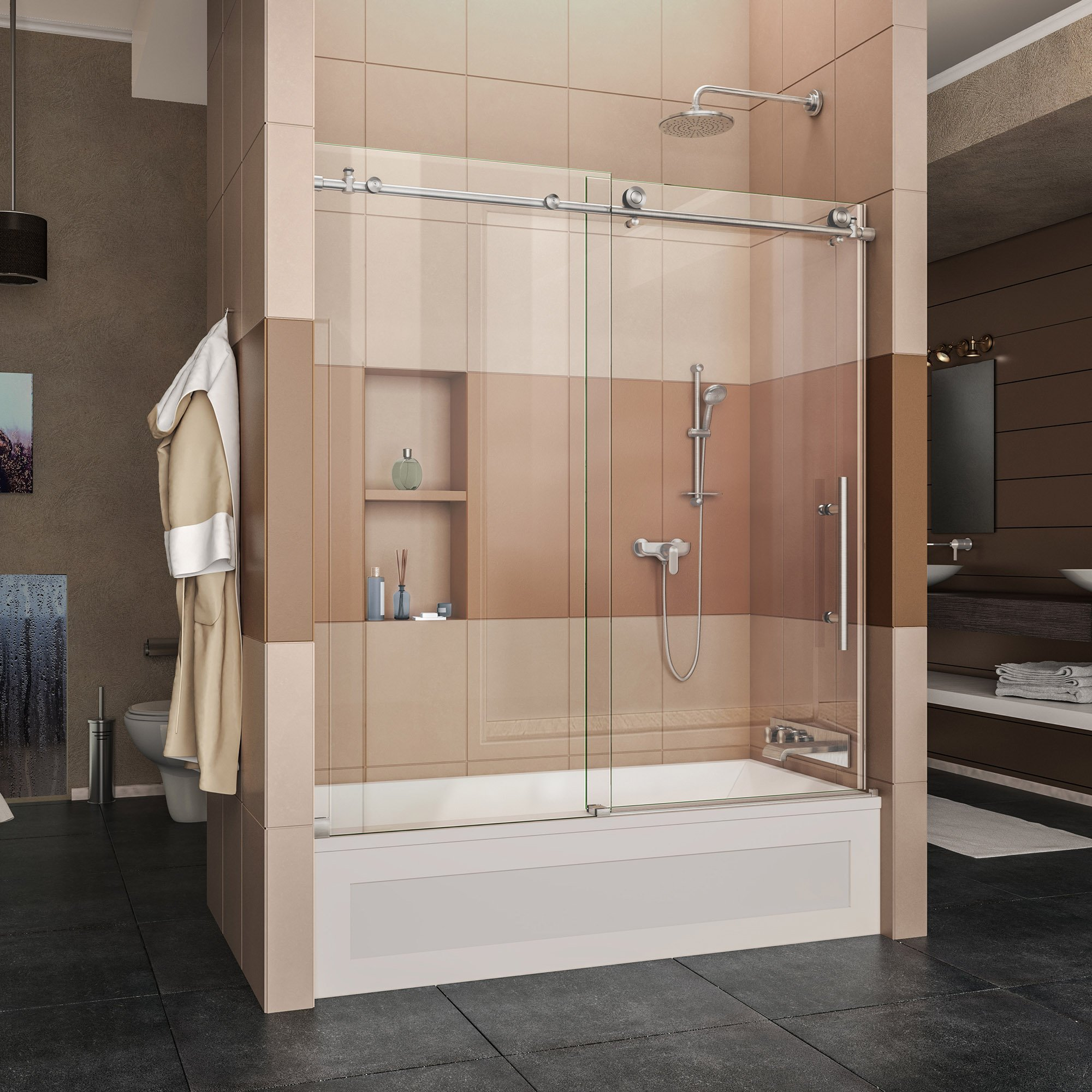 DreamLine Enigma-X 56-59 in. Width, Frameless Sliding Tub Door, 3/8'' Glass, Brushed Stainless Steel Finish