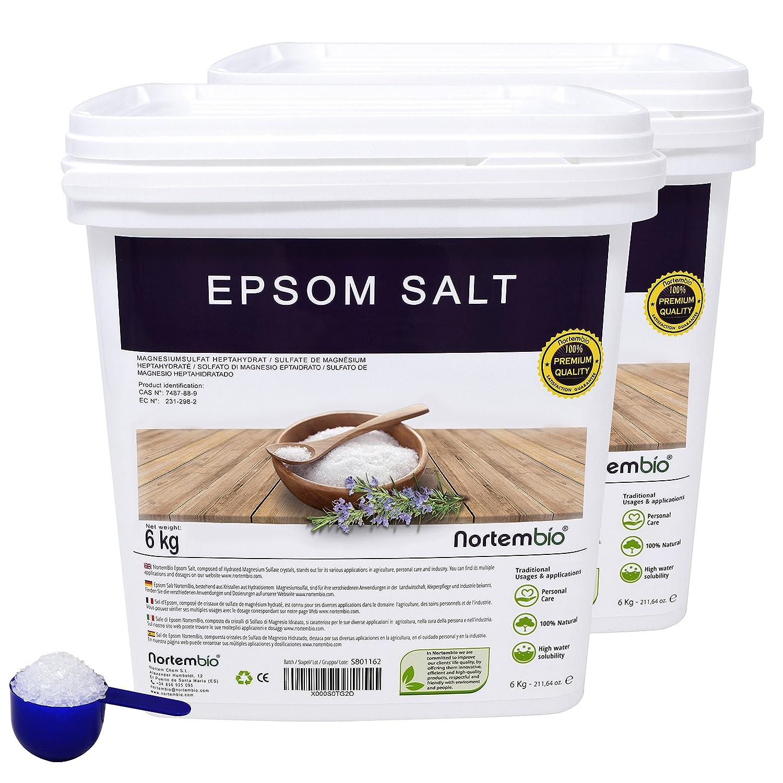 Epsom Salz NortemBio 2x6 Kg, Konzentrierte Magnesiumquelle, 100% Natürliches Salz. Bad und Körperpflege. Nortem Biotechnology