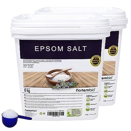 NortemBio Sal de Epsom 2x6 Kg, Fuente concentrada de Magnesio, Sales 100% Naturales. Baño y Cuidado Personal.: Amazon.es: Hogar