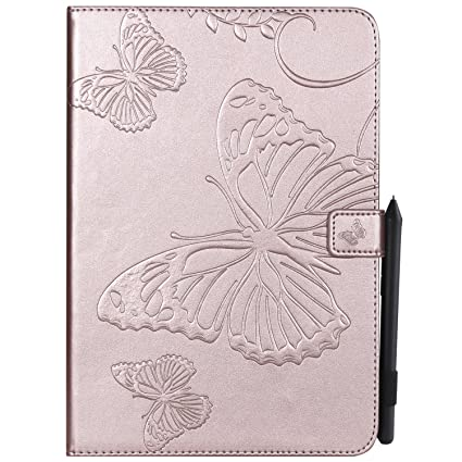 Alarm Accessories Car Electronics & Accessories Shinyzone Tablet Leather Case for iPad Mini 1 2 3 4,Embossed Orange Butterfly Pattern with Credit Card Slots and Pencil Holder,Auto Sleep and Wake Function Magnetic Flip Stand Cover