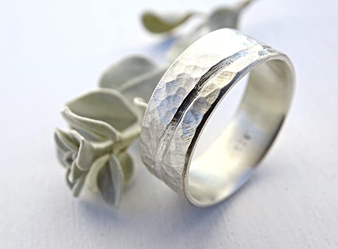 Rustic Wave Ring Silver, Ocean Inspired Silver Ring, Unique Wedding Band Men,  Silver