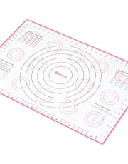 Extra-Large Silicone Pastry Mat with Measurements and Conversion Charts, Non-Stick Non-Slip, Fondant Mat for Rolling Dough (X-Large 66 x 43 cm), Pink) …