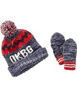 Oshkosh Big Boys' Marled Knit Hat & Mitten Set (4-7 Kids, Black Red)