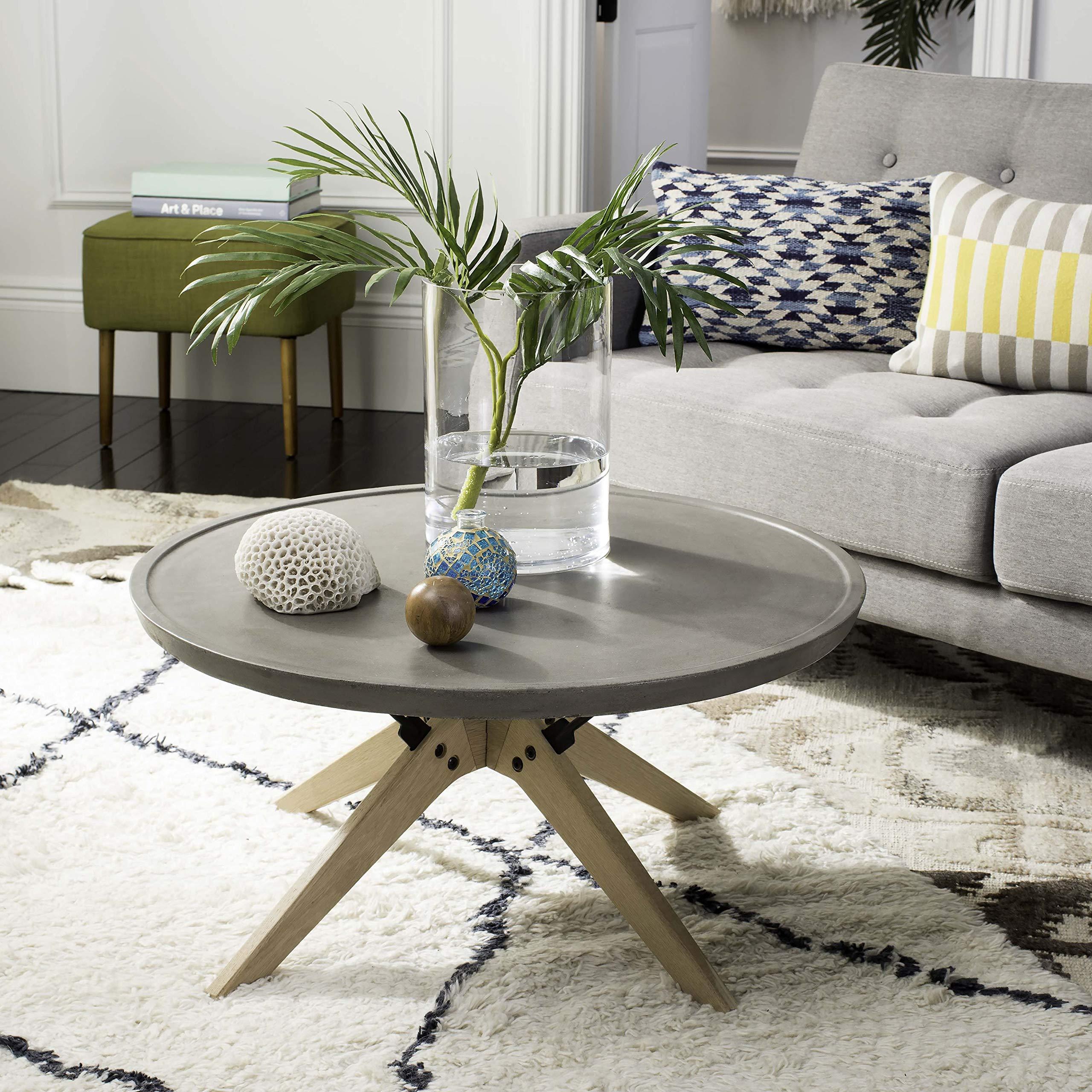 Safavieh VNN1026A Collection Bryson Dark Grey Indoor/Outdoor Modern Concrete Round 14.57'' Coffee Table