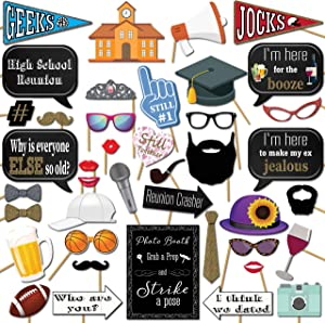High School Class Reunion Photo Booth Props Party Kit 41 Pieces with Wooden Sticks and Strike a Pose Sign by Outside The Booth