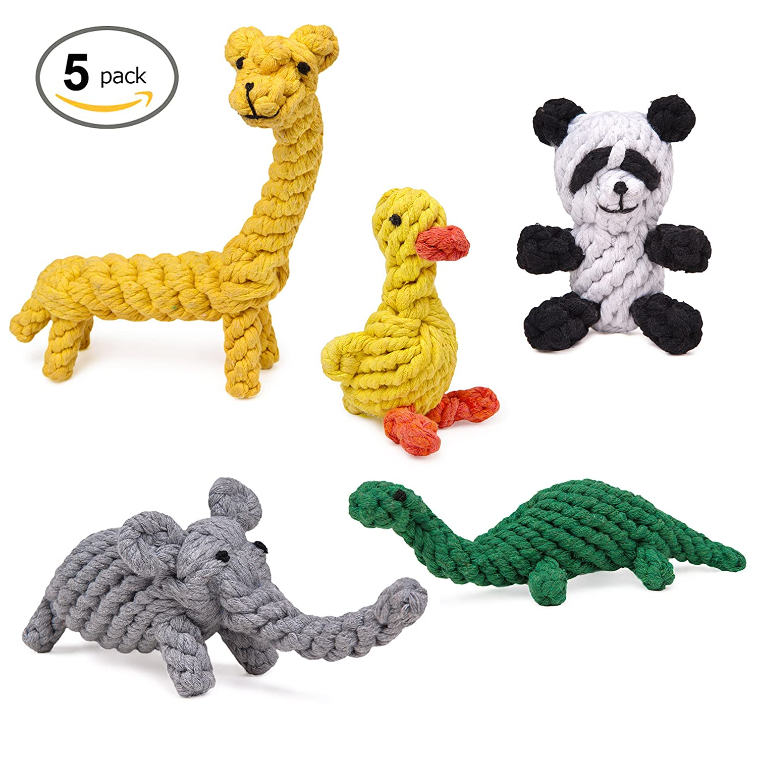 HC-RET Dog Toy, Animal Design Cotton Rope Dog Toys with Puppy Pet Play Chew and Training Toy (Set of 5)