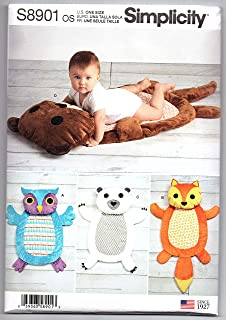 product image for Simplicity US8901OS Sewing Pattern S8901 Baby Tummy Time Animal Mats, Various, White