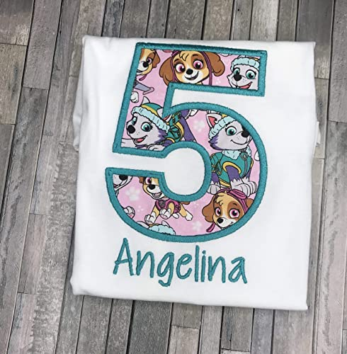 Amazon Girls Embroidered Skye Everest Paw Patrol Birthday Shirt Personalized Custom With Name 2nd 3rd 4th 5th 6th Handmade