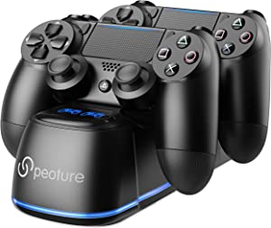 PS4 Controller Charger, Peoture PS4 Controller Charging Station with LED Light Indicator for Sony Playstation 4/PS4 Pro/PS4 Slim Controller