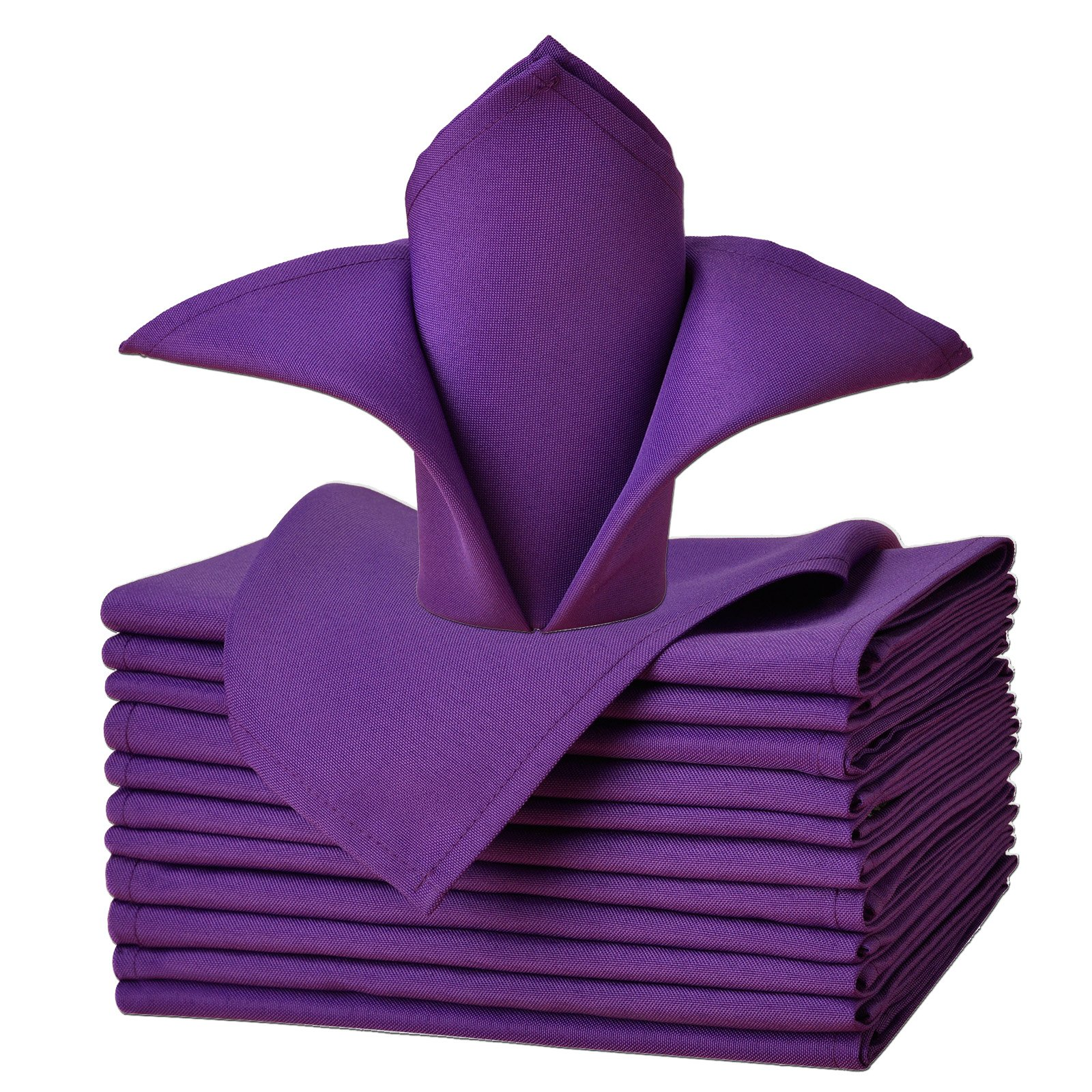 VEEYOO Oversized 17x17 Solid Polyester Cloth Napkins for Wedding Party Restaurant Dinner Washable Easy Care Set of 12, Purple