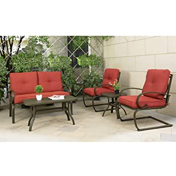 Cloud Mountain 5 Piece Cushioned Outdoor Furniture Garden Patio  Conversation Set, Wrought Iron Coffee Table