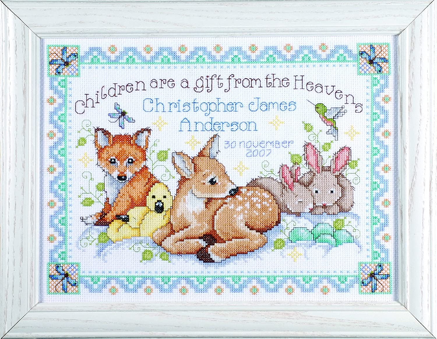 Design Works Crafts Counted Cross Stitch, Woodland Baby Sampler, 12 by 13 inches 2431