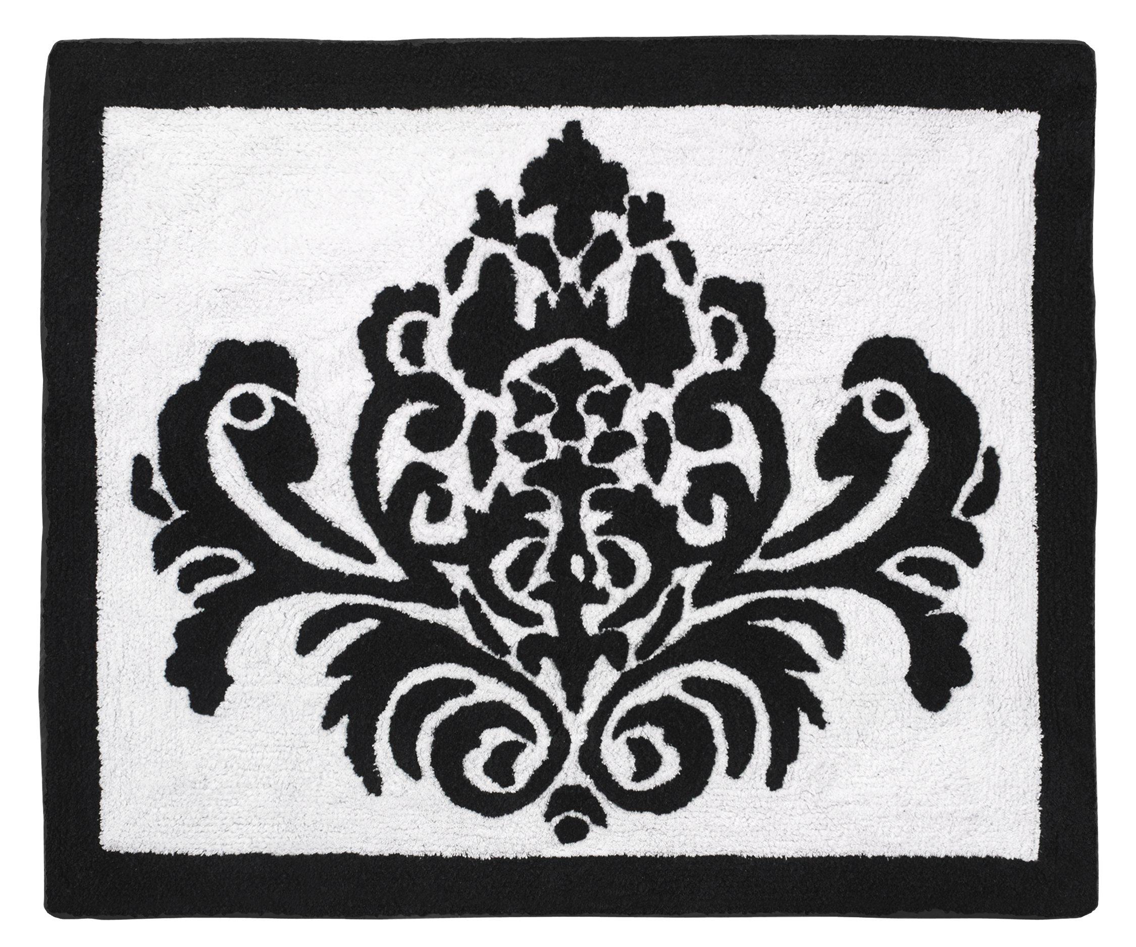Sweet Jojo Designs Black and White Damask Girls Sloane Accent Floor Rug