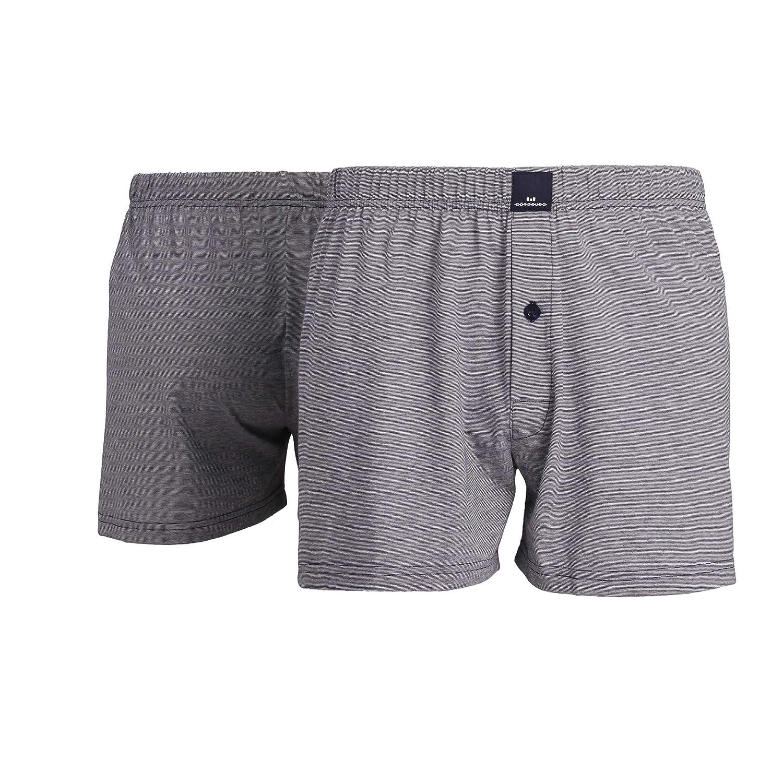 Götzburg Herren Boxershort, Unterhose, Boxer-Shorts - Baumwolle, Single Jersey, Blau, Gestreift, mit Eingriff, 2er Pack