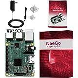 NeeGo Raspberry Pi 3 Starter Kit – Pi 3 Model B Barebones Computer Motherboard with 64bit Quad Core CPU & 1GB RAM, 2.5A Power Supply & Heatsink 2-Pack