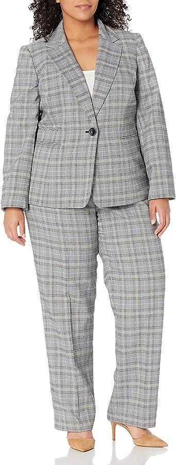 Le Suit Womens 1 Button Notch Collar Plaid Slim Pant Suit