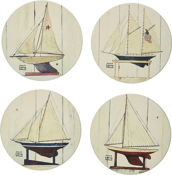 Teal Sailboat Pattern Drink Coaster Set