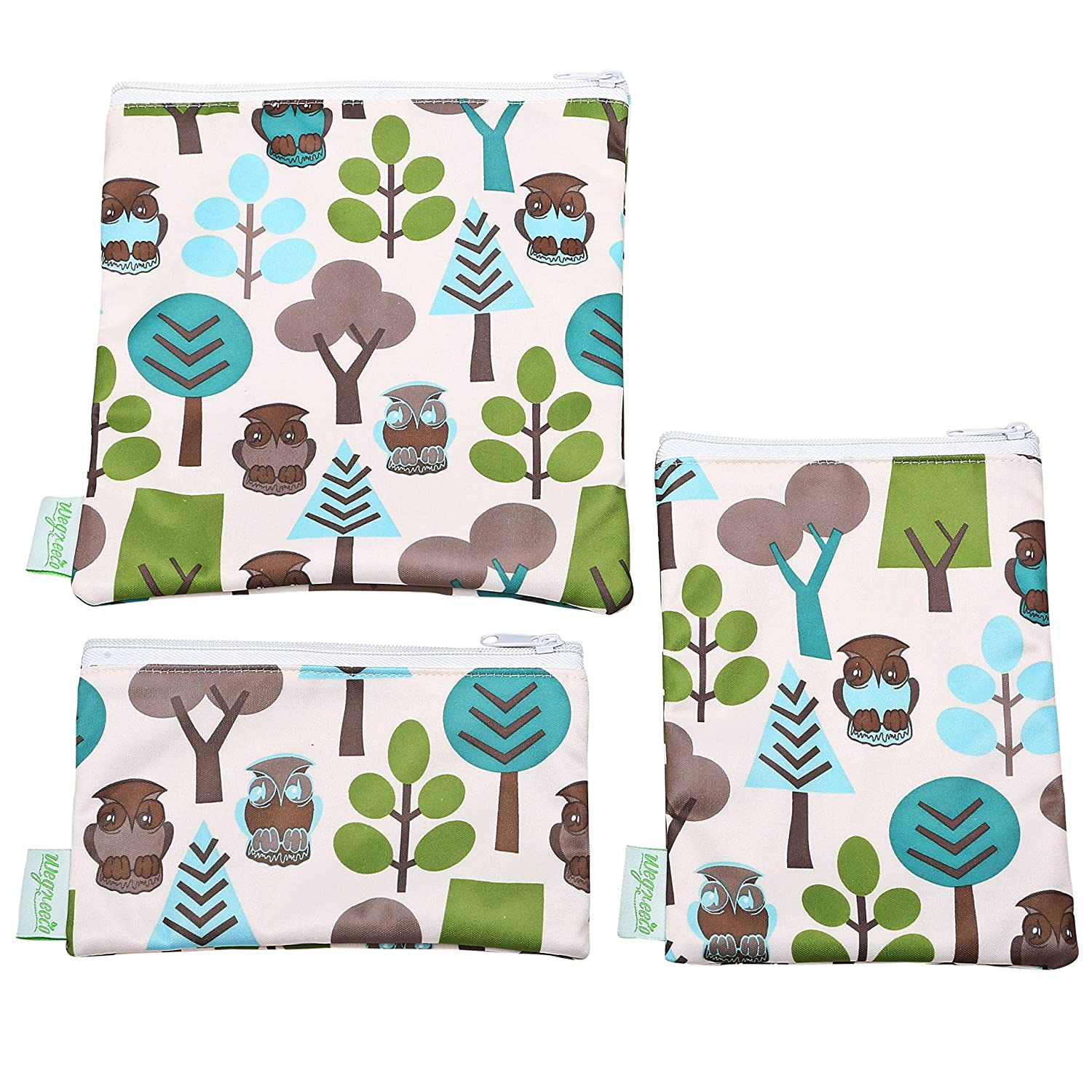 Wegreeco Reusable Sandwich & Snack Bags - Set of 3 - (Owl)