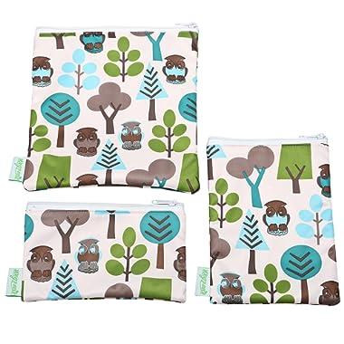 Wegreeco Reusable Sandwich & Snack Bags - Set of 3 - (Owl)