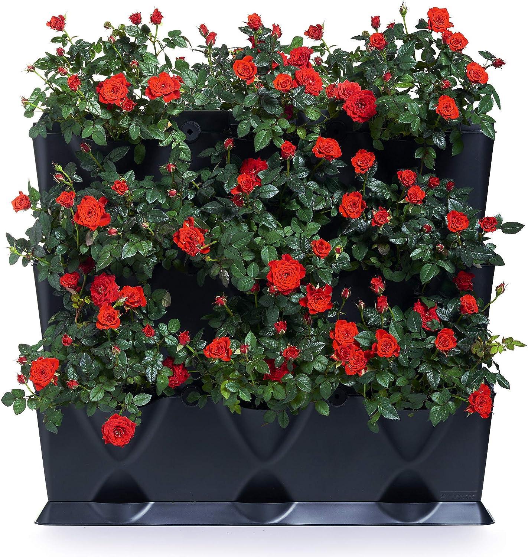 minigarden 1 Juego Vertical para 9 Plantas, Jardín Vertical Modular y Extensible, Colocar en el Suelo o Colgar en la Pared, Mecanismo de Drenaje Innovador, Largo Ciclo de Vida (Negro)