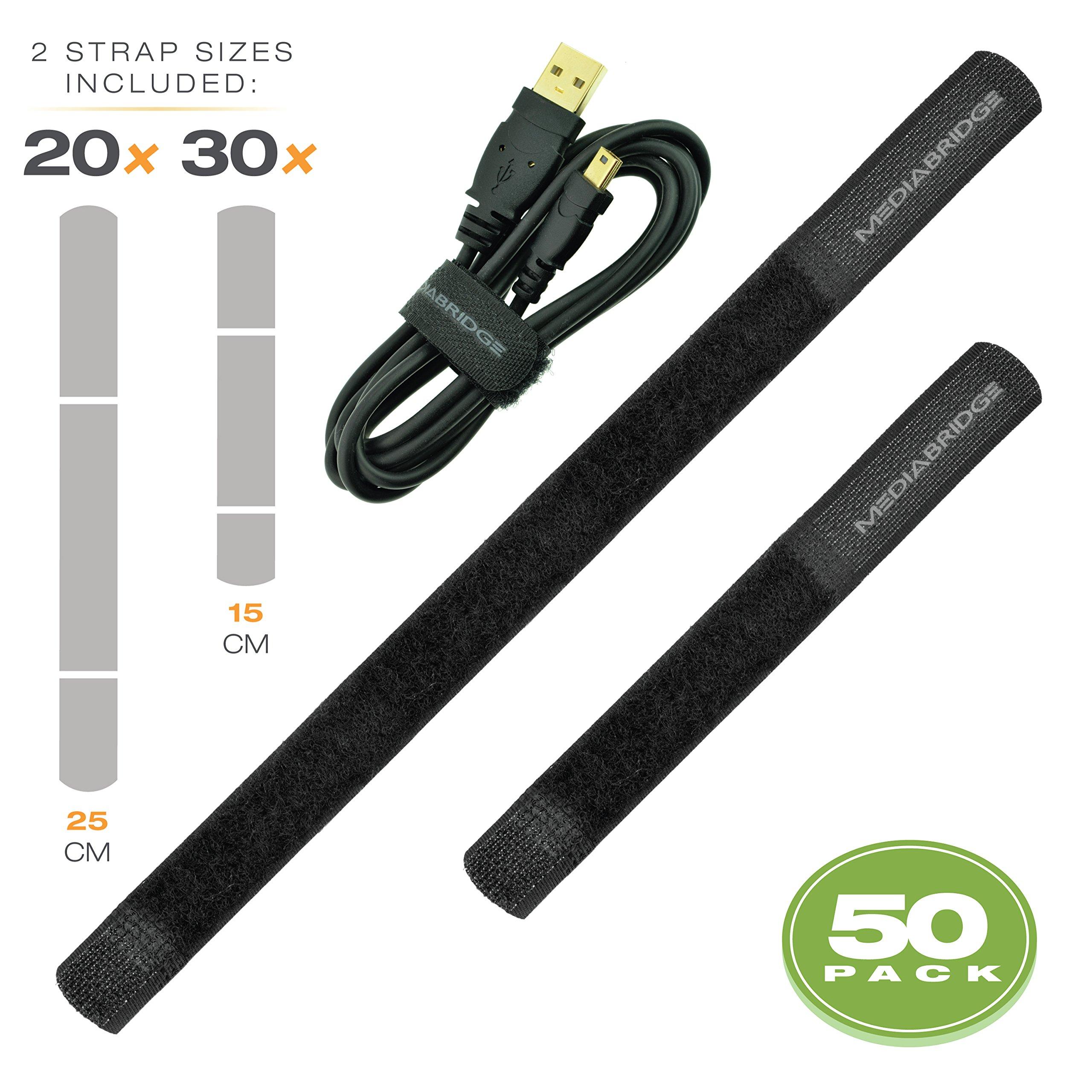 Mediabridge Cable Straps 50-Pack (30 × 15CM, 20 × 25CM) - Adustable & Reusable - Dual-Tabbed Cable Ties (Part# MCM-VSX50)