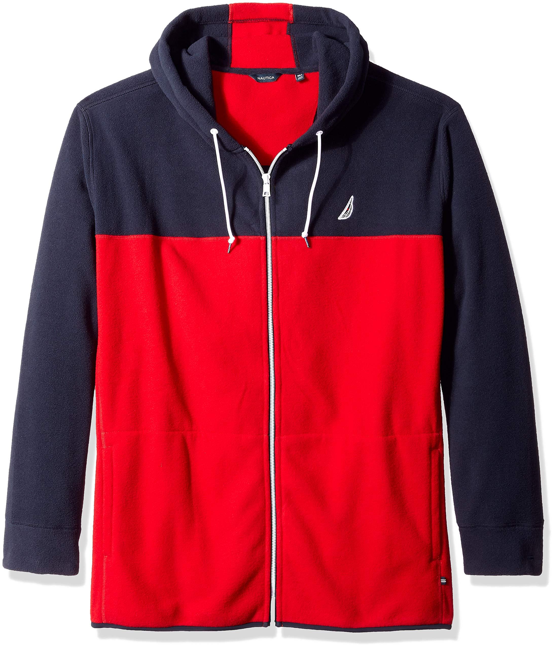 Nautica Men's Big and Tall Blocked Nautex Full-Zip Jacket Sweatshirt, Navy 4XLT
