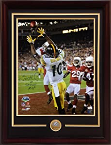 Santonio Holmes signed 16x20 photo ins SB XLIII MVP framed Steelers coin auto JSA COA
