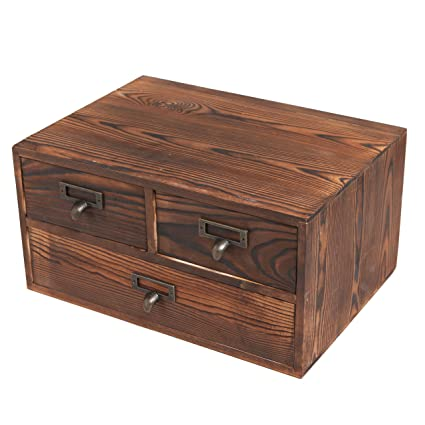 Small Rustic Dark Brown Wood Office Storage Cabinet / Jewelry Organizer W/  3 Drawers