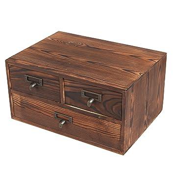 Small Rustic Dark Brown Wood Office Storage Cabinet / Jewelry Organizer W/  3 Drawers