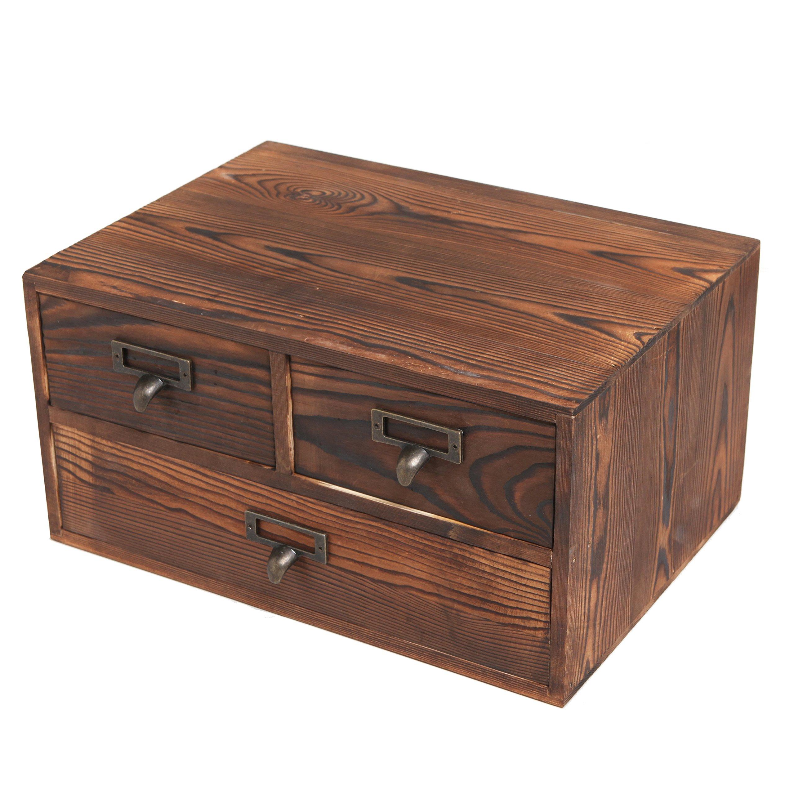 MyGift Small Rustic Dark Brown Wood Office Storage Cabinet/Jewelry Organizer w/ 3 Drawers