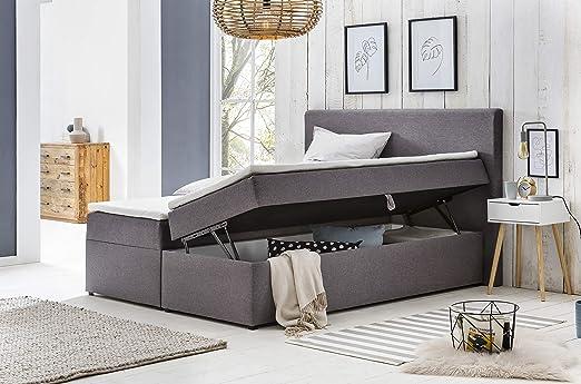 Furniture For Friends Möbelfreude Polsterbett Bianca 160x200 Cm Hellgrau H2 Mit Bettkasten Hochwertiger Bonell Federkernmatratze