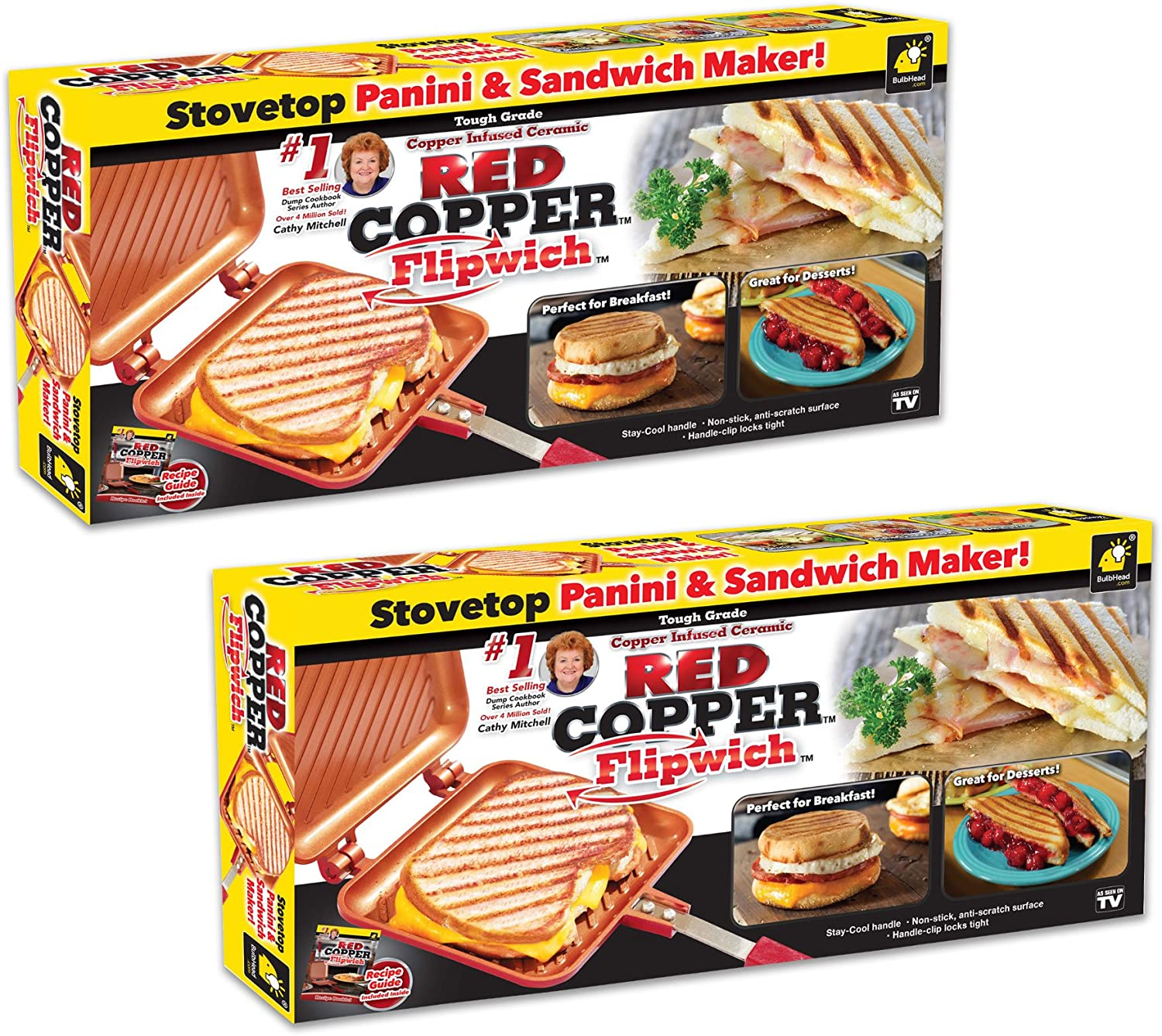 Red Copper Flipwich Non-Stick Grilled Sandwich and Panini Maker by BulbHead 2 Pack