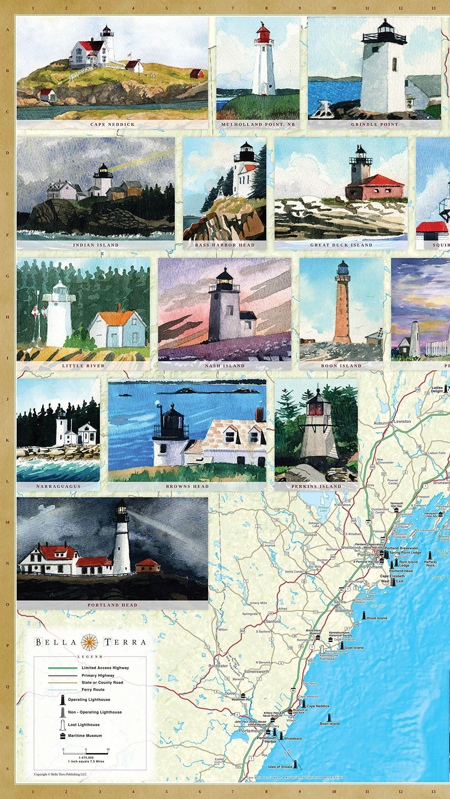 Maine Lighthouses Illustrated Map Guide Bella Stander Peter M