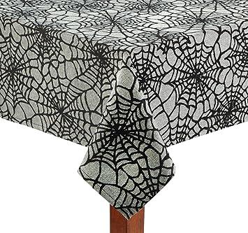 Superb Black Spider Web Cotton Fabric Jacquard Tablecloth Halloween (52u0026quot; X  52u0026quot; ...