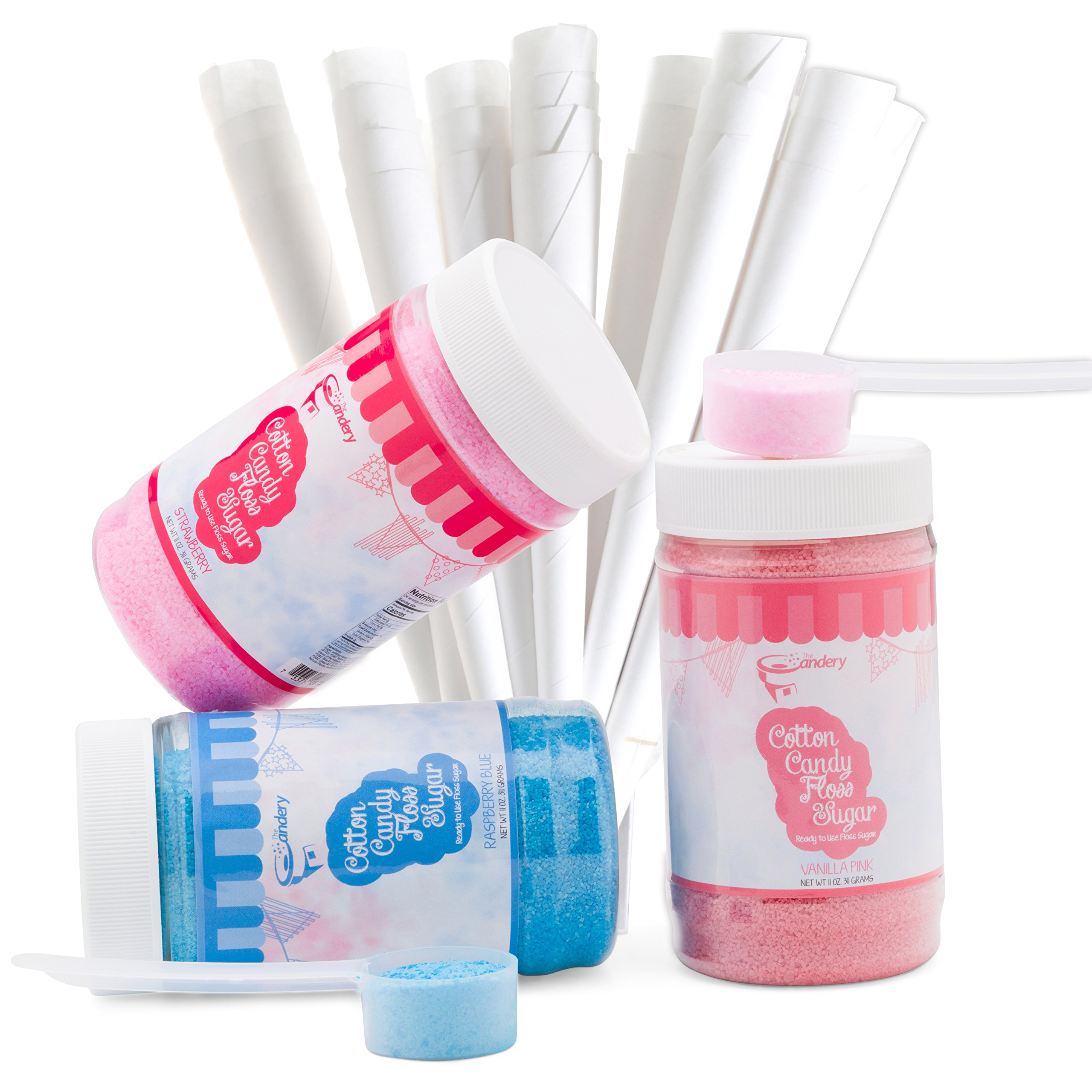 The Candery Cotton Candy Floss Sugar Kit –Raspberry Blue, Vanilla Pink and Strawberry Flavors (11 oz. Jars), 50 Cones and a Scoop – Fun Confectionary Treats for Kids and Adults