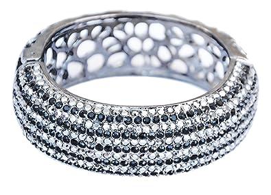 f193a3b365875 Noir Black Multi Row Crystal Pave Cuff Hinge Bracelet Designer Inspired