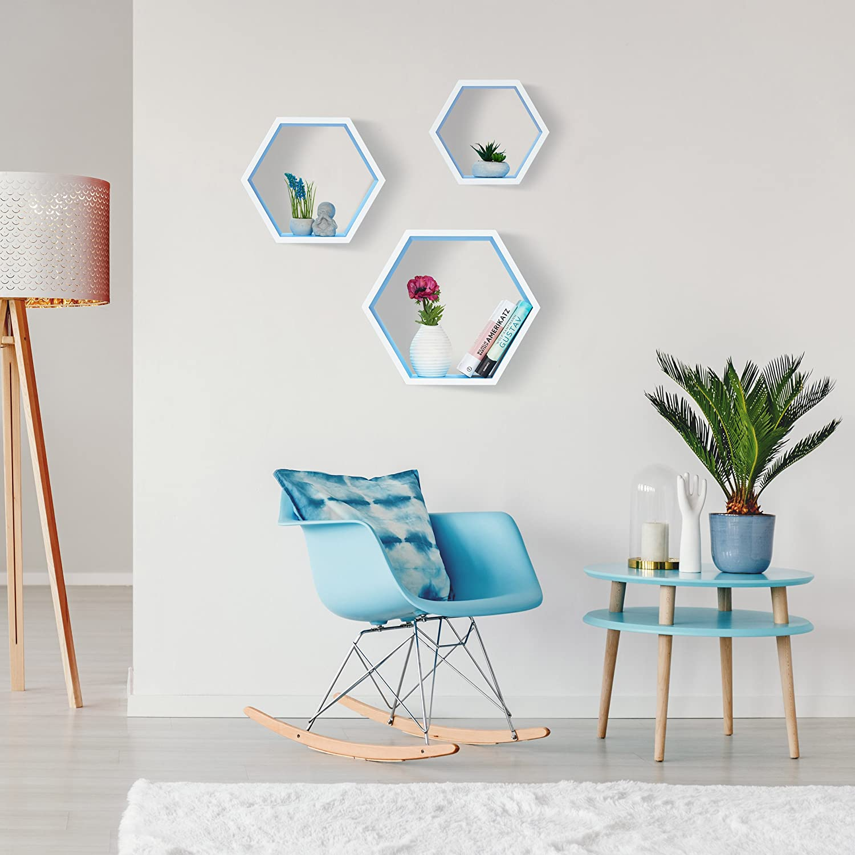 37 x 42 x 15 cm Blanco Madera MDF Relaxdays Juego de Baldas Pared Grandes Hexagonales