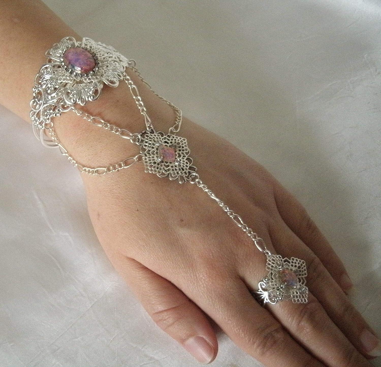 Pink Opal Slave Bracelet handmade jewelry boho bohemian hippie gypsy medieval renaissance hand chain