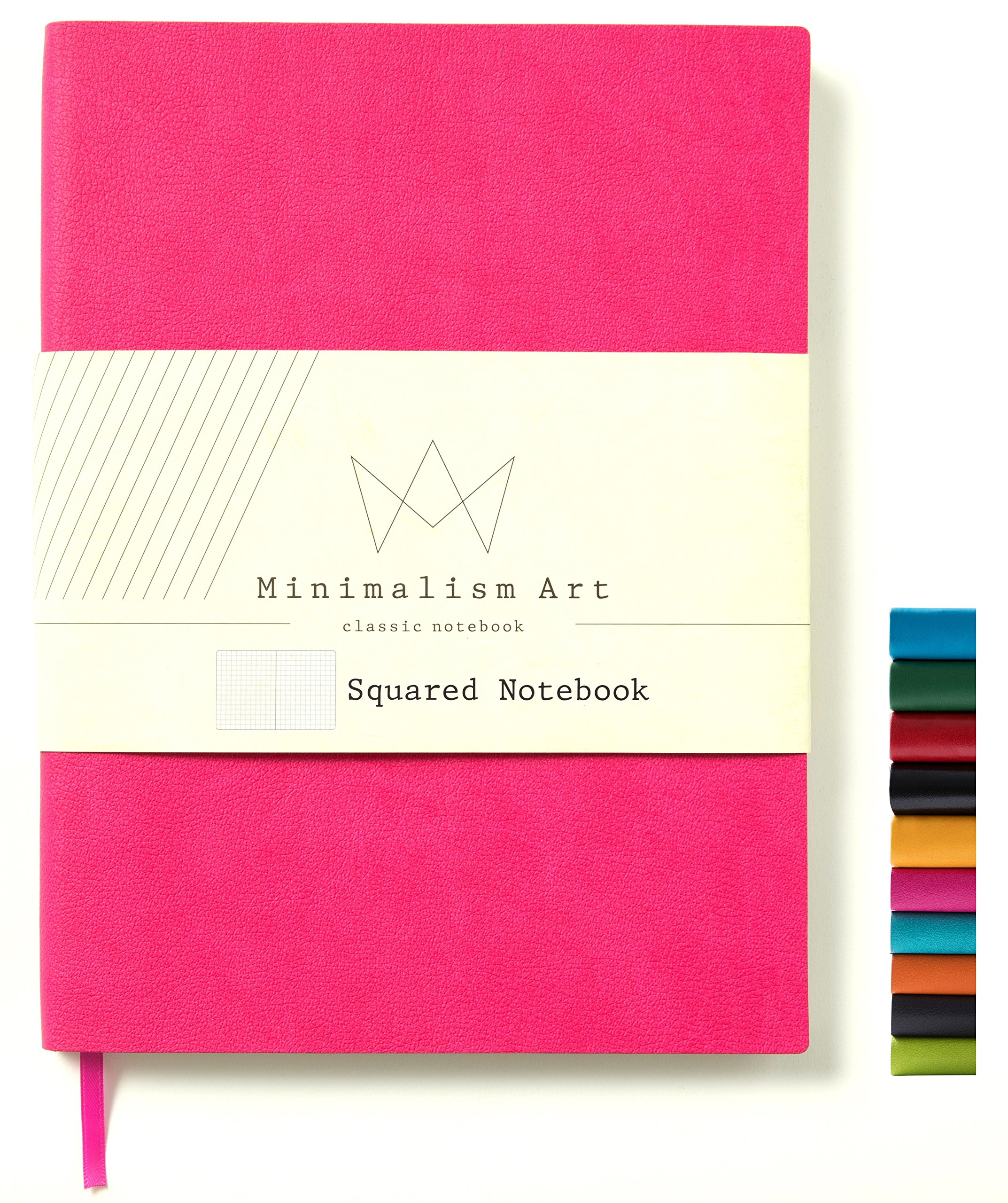 Minimalism Art | Soft Cover Notebook Journal, Size: 7.6'' X 10''; B5+, Berry, Squared Grid Page, 192 Pages, Fine PU Leather, Premium Thick Paper - 100gsm | Designed in San Francisco