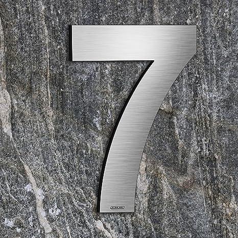 qobobo® Número Casa 7 Siete Signo Vivienda Calle de 304 Acero Inoxidable Cepillado , 200mm