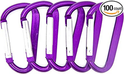 6x Aluminum D-Ring Spring Loaded Gate Keychain Carabiners Clip Mini Lock Hooks