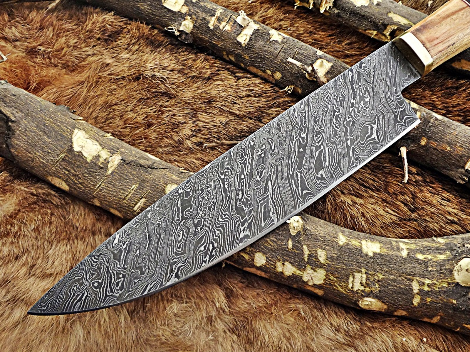 13.5 Inches long custom made Damascus steel chef Knife 8'' full tang blade Kow wood scale with brass spacer and bull horn round scale by Damascus Depot (Image #3)
